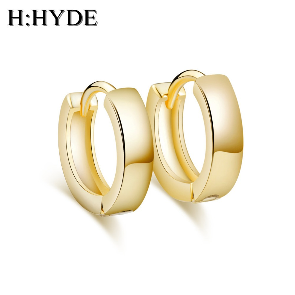 H:HYDE Hot sale Gold Color smooth shiny top quality hoop earrings for Christmas gifts brincos para as mulheres