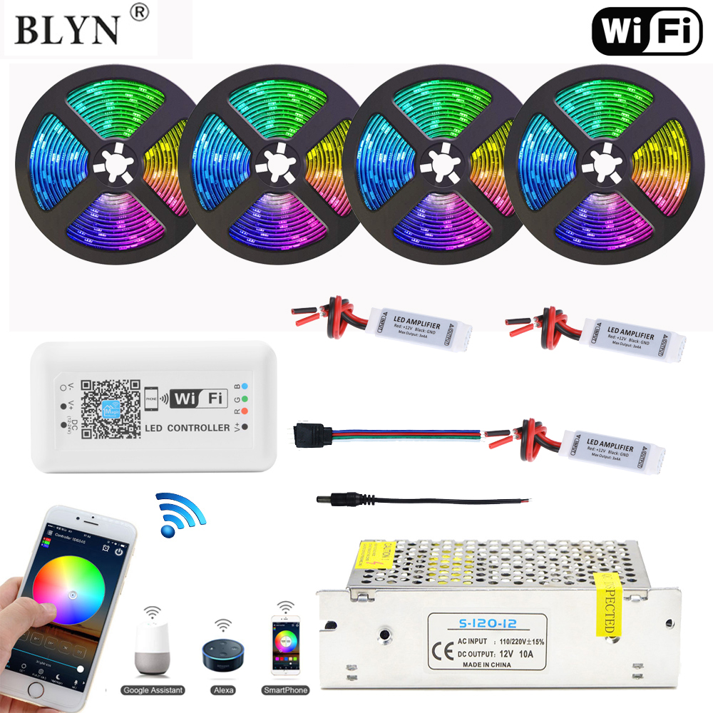 20M 15M RGB LED Strip Waterproof 5050 Tape Ribbon Light With WIFI LED RGB Controller Alexa Google Home Phone Control For Ceiling
