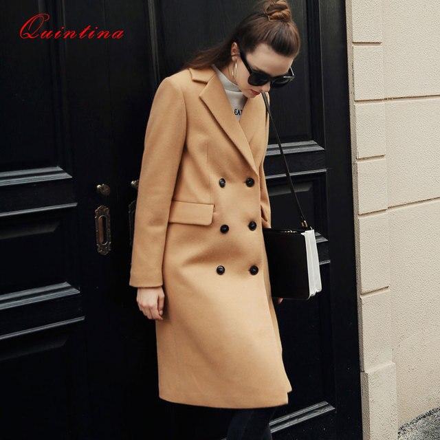 Quintina 2016 New Fashion Woolen Blended Coat Women Long Coat Casaco Feminino Female Overcoat Winter Coat Women