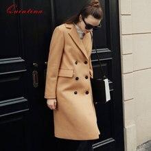 Quintina 2016 New Fashion Woolen Coat Women Long Coat Casaco Feminino Female Overcoat Winter Coat Women
