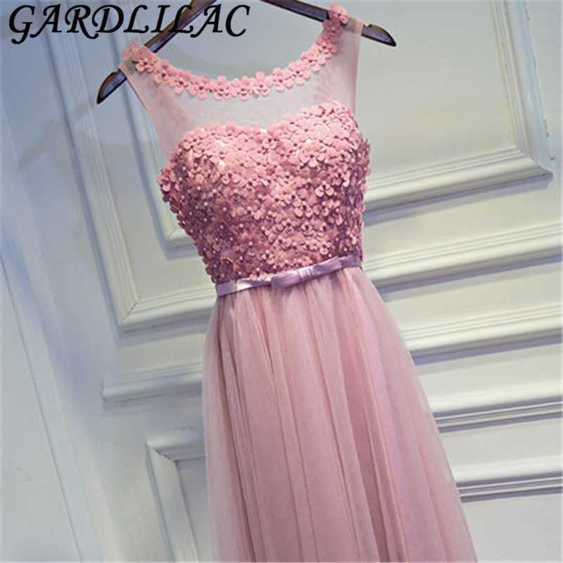 Gardlilac Tulle Applique Beading Pink Long Bridesmaid Dress with sashes o neck Floor Length Wedding Party Dress