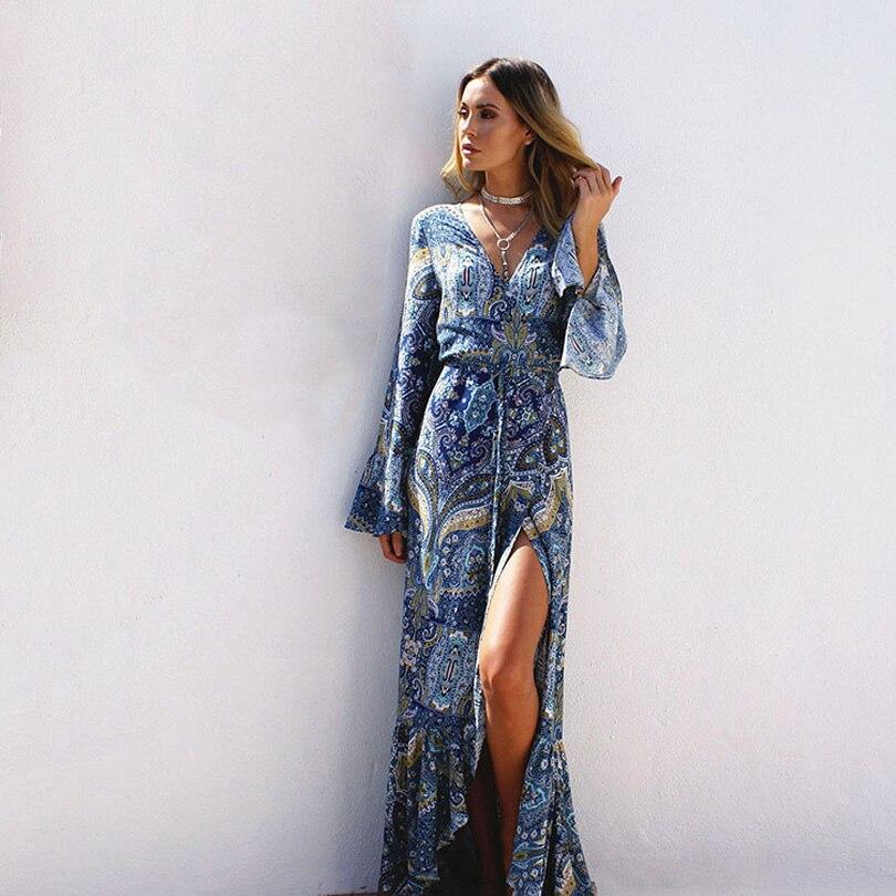 Bohême longue robe Femmes imprimé floral en mousseline de soie plage robe d'été de v-cou sexy robe ruches robe Bohème plus la taille Plage tissu
