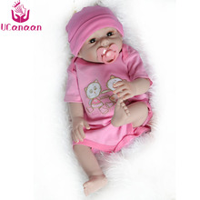 "UCanaan Handmade 50cm Full Silicone Doll Reborn 20"" Vinyl Fashion Realistic Toys For Girls Baby Alive Newborn Dolls Child Gift"