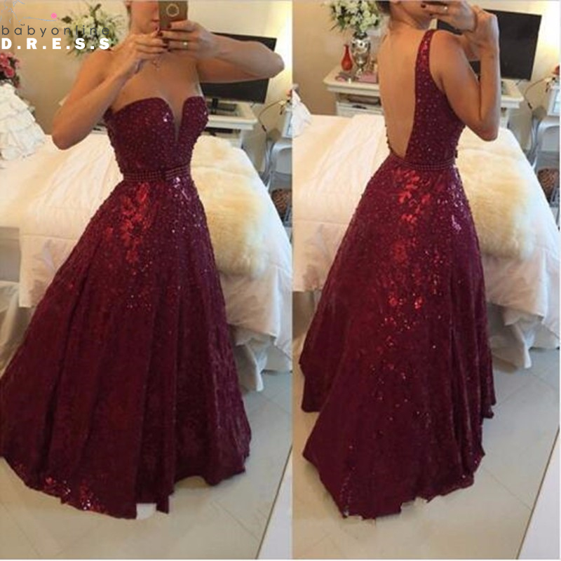 Burgundy Wine Sequin Prom Dresses Long 2017 Ball Gown Backless Prom Evening  Gowns Vestido Do Baile De Finalistas-in Prom Dresses from Weddings   Events  on ... 7fcf4db0a28b