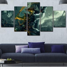 Wall Art Home Decorative 5 Panel Pirates Of The Caribbean Game Zombie People Picture One Set Framework Or Unframed Movie Poster