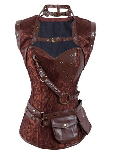 New-2015-Steampunk-Coset-Top-Retro-Gothic-Full-Steel-Boned-Brocade-Vintage-Steampunk-Bustier-Corsets-Brown (1)