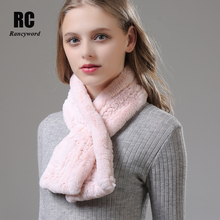 [Rancyword] Women Scarf Luxury Brand Thick Warm Knitted Real Rex Rabbit Fur Scarves Ladies Soft Cashmere Shawls RC1381