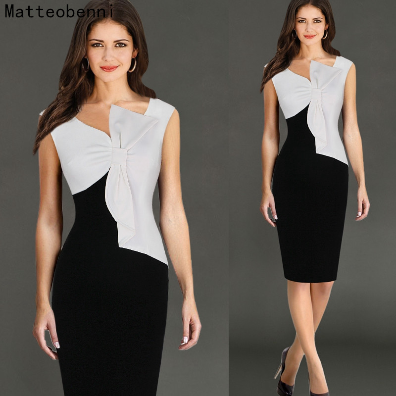 Women Elegant Sexy V-neck Ruffle Bow Sleevesless Party Work Fitted Stretch Slim Wiggle Pencil Bodycon Office Lady Dress Suit