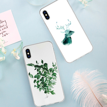 Abstract Exotic Washpainting Flowers Animals Phone Case For iPhone X 6 6s 7 8 Plus XR MAX SE 5 5s Transparent Soft silicone