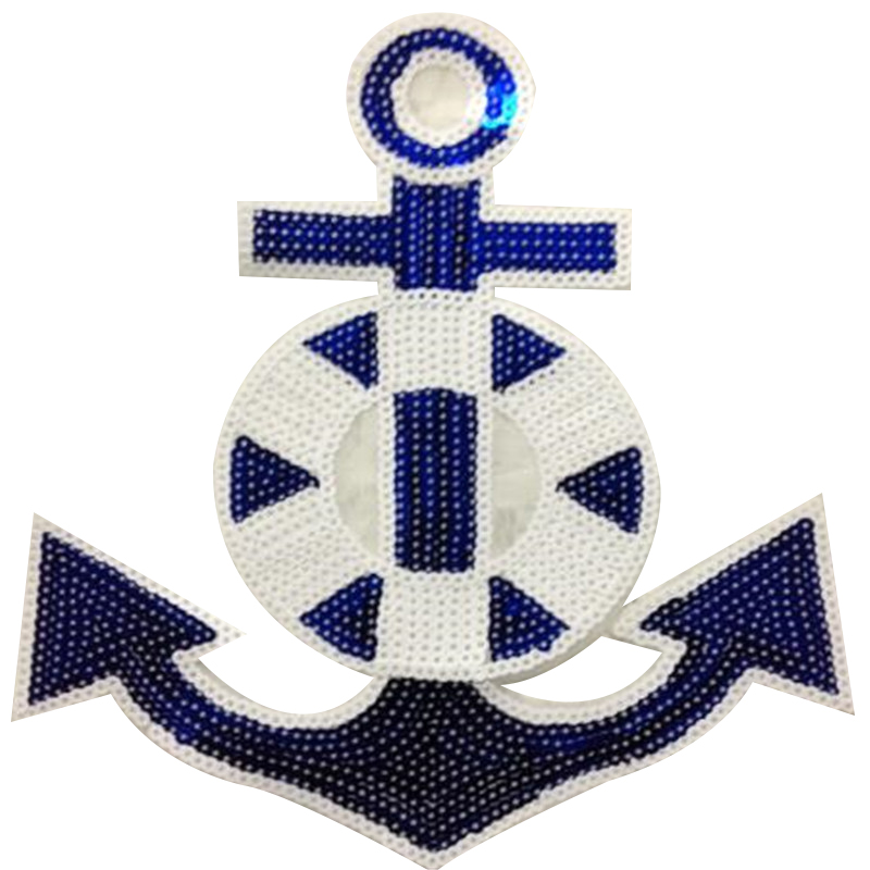 Fashion patch 25cm Anchor hook logo suquins Diy Women Embroidery Iron on patches for clothing applique Stickers Free Shipping