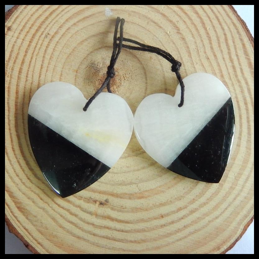 Natural Gemstone White jade with Obsidian intarsia heart shape fashion women Earrings Beads,34x32x3mm,12.4g