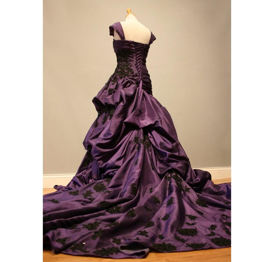 1950s Cap Sleeves Vintage Purple Wedding Dress 2017 Gothic Wedding