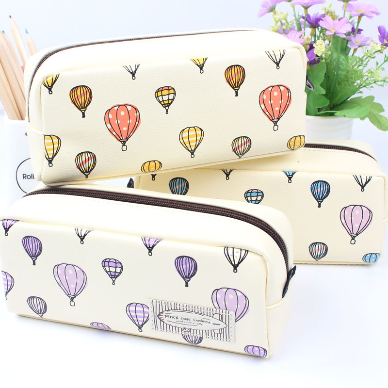 Simple Creative Hot Air Balloon Pencil Case Large Capacity Leather Zipper Cute Student Pen Bag Sweet Stationery School Supplies pencil case korean stationery creative simple large capacity pu zipper pencil case cute student supplies high quality waterproof