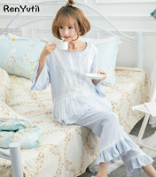 RenYvtil 2018 Spring Cotton Princess Women S White Pajamas Pants Set Lace Decoration Sleepwear Pijamas Femininos