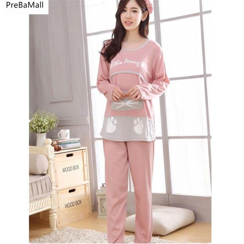 Pregnancy Pajamas Autumn Winter Maternity  Nursing  Sleepwear Long Sleeve Pijama Maternal Lactancia Pyjamas Women Outer D0044