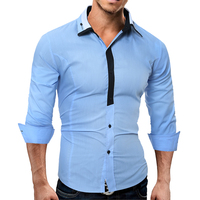 2017 New Fashion Brand Camisa Masculina Long Sleeve Shirt Men Slim Solid Casual Male Chemise Homme