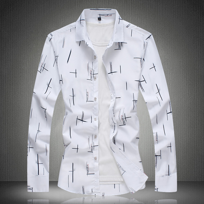 Men Shirts Long Sleeve Summer Print Shirt 2018 Mens Dress Shirts Casual Fashion White Blue Plus Size M- 4XL 5XL 6XL 7XL #3013 1