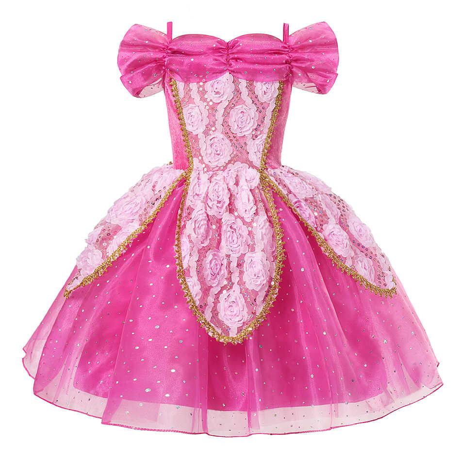 Karikatür Prenses Kostüm Kızlar Külkedisi Belle Yasemin Aurora Elbise Çocuklar Cosplay Uyku Güzellik ve Beast Kız Fantezi Kostümler