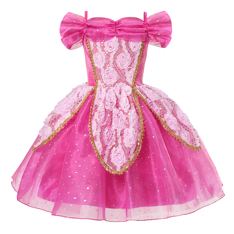 Princess Dress for Girl Kids Costumes Cosplay Belle Aurora Cinderella Jasmine Cartoon Beauty and The Beast Fancy Summer Dresses in Dresses from Mother Kids