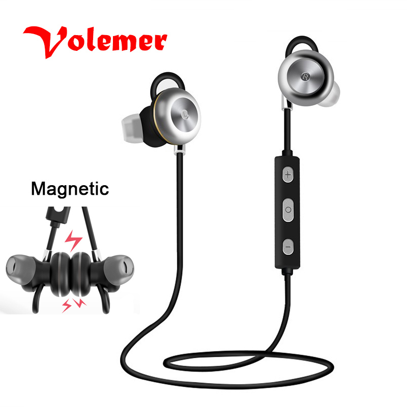 Volemer wireless bluetooth earphone Headphone magnetic with mic microphone sports waterproof stereo bass headset for cell phone new metal magnetic wireless bluetooth headphone sport headset hands fress hifi earphone with mic for iphone samsung phones
