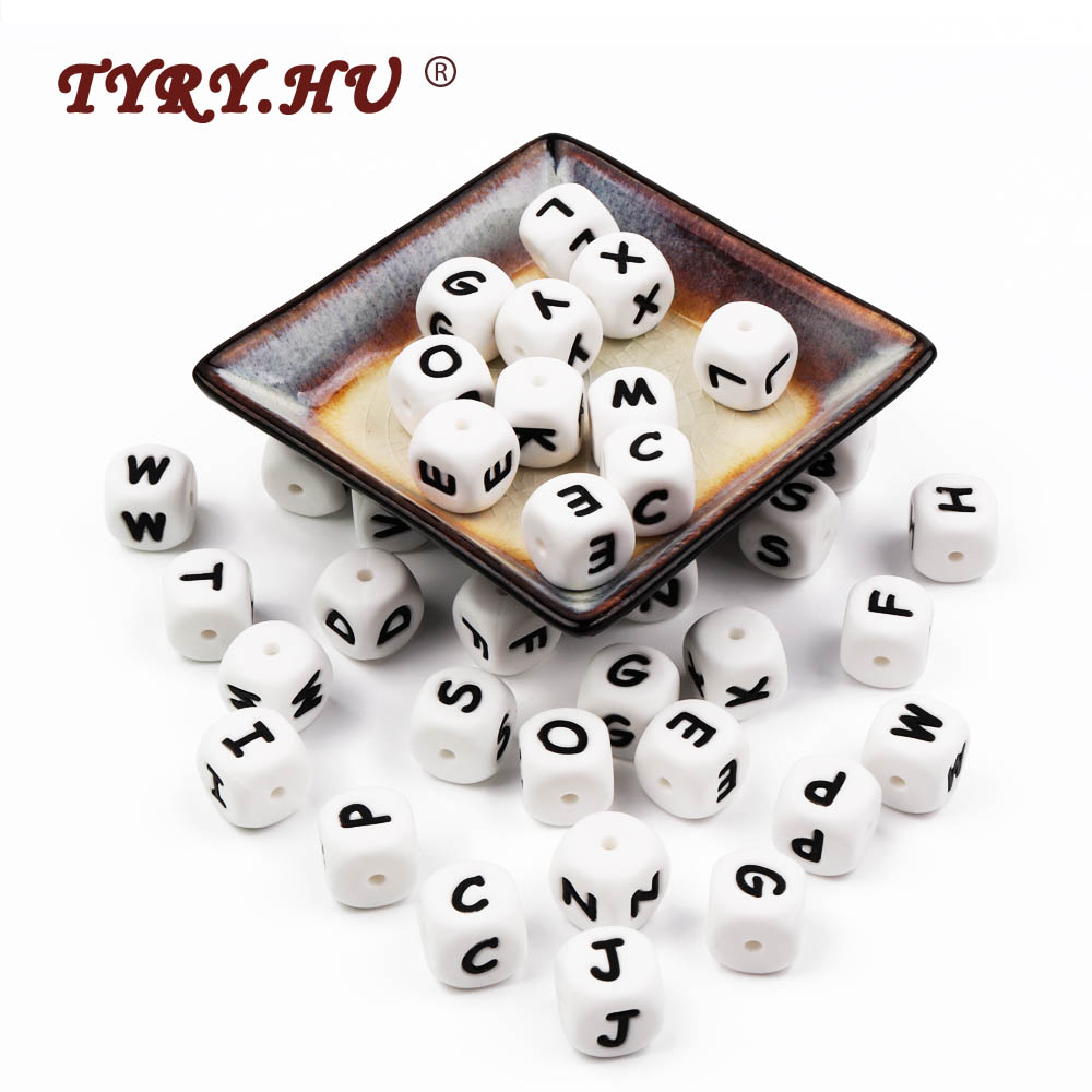 TYRY.HU 100Pcs English Letter Beads BPA Free Alphabet Silicone Beads Baby DIY Teething Chew Nipple Chain Necklace Accessories 10pc cube silicone letter beads personalized name letter bracelet chewing alphabet beads food grade silicone 12mm