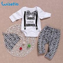 Wisefin Newborn Clothing Set Baby Boys Set 3Pcs Bow Tie Infant Clothes 0-18 Months Moustache Print Cute Long Sleeve Baby Set