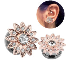 2pcs/lot 316L Stainless Steel Screw Rose Gold Star Ear Plug Flesh Tunnel Summer Ear Gauge Plug Stretcher Piercing Body Jewelry(China)