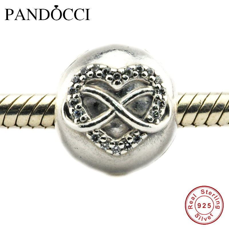 925 Sterling Silver Heart Silver With Cubic Zirconia CZ Charm Bead Bracelet