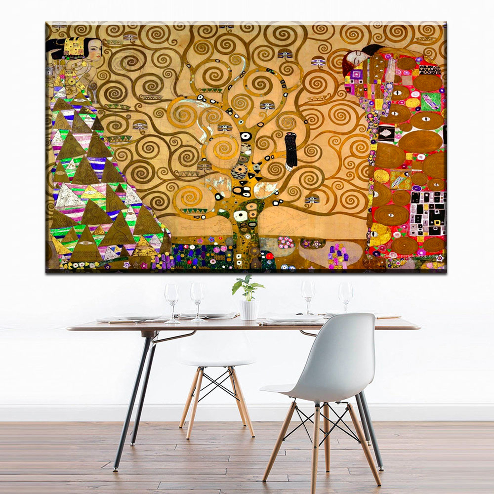 Xdr193 Artists Gustav Klimt Works Tree Life Wall Pictures Paintings Canvas Painting Prints