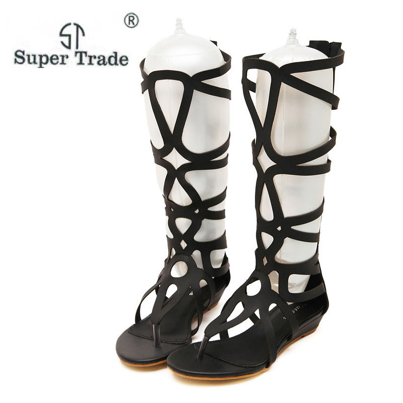 2018 Women Sandals Summer Flats Sexy Knee High Boots Gladiator Sandals Women Casual Flats Shoes Designer Free Shipping handmade high quality 2017 summer new knee high boots gladiator women sandals boot real leather flats casual shoes black size 41