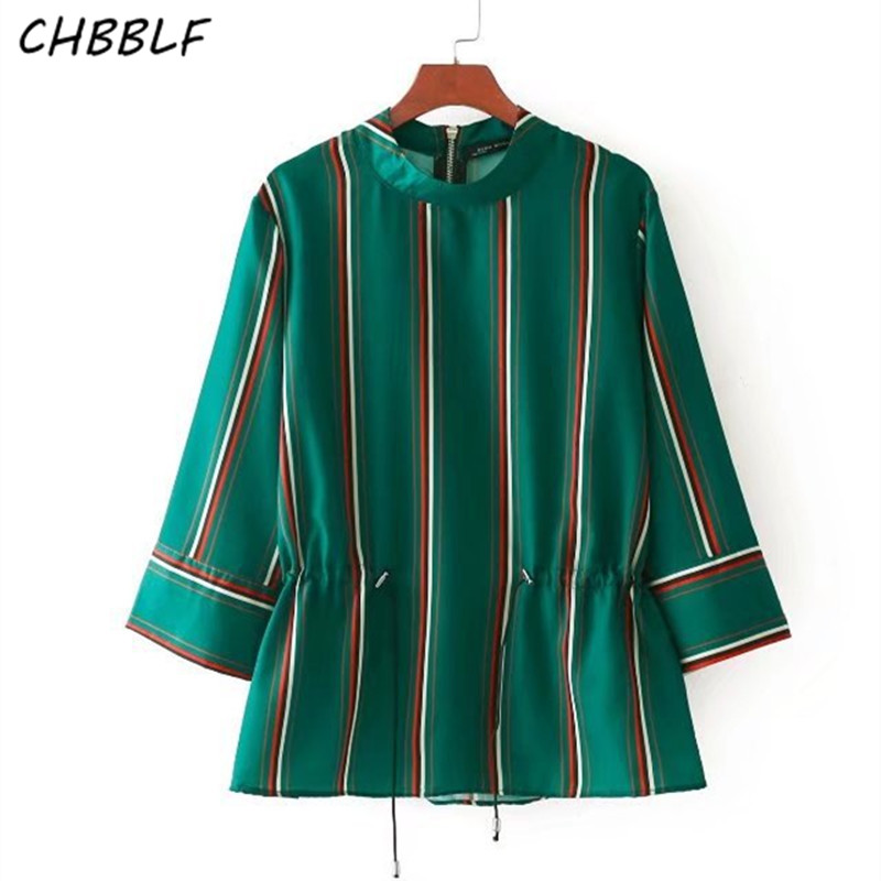 women sweet green tops striped shirts three quarter sleeve blouse female casual chic BGB7462