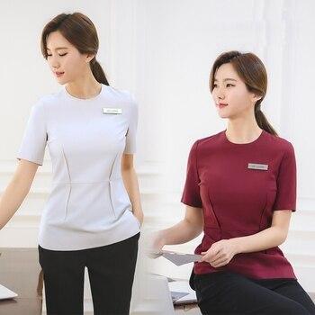 2018 Korean Style Spa Health Club Beauty Salon Work Wear Hospital Nurse Uniform Tattoos Beautician Medical Uniforms Short Sleeve
