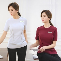 2018 Korean Style Spa Health Club Beauty Salon Work Wear Hospital Nurse Uniform Tattoos Beautician Medical Uniforms Short Sleeve