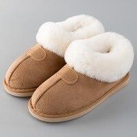 Женские тапочки; зимняя обувь; большие размеры 43-46; меховые шлепанцы; прошитая обувь на плоской подошве для девочек; плюшевая замшевая тепла...