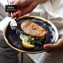 10 дюймов Европейская черная Золотая тарелка керамическая золотая