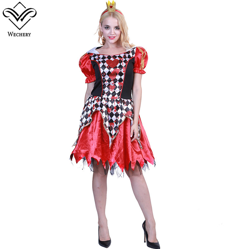 Wechery Plaids Cosplay Dress Red Heart Queen One Piece Costume Women Puff Sleeve Round Neck Costumes for Halloween Festival