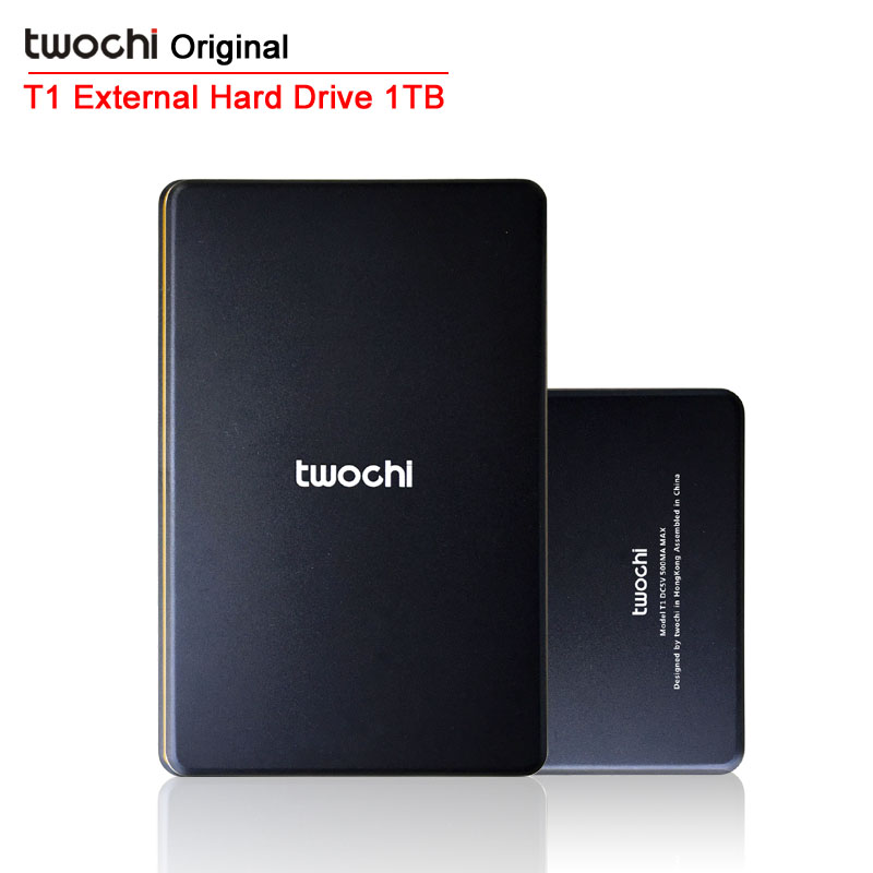 Free shipping TWOCHI T1 Original 2.5'' Slim Mobile Portable HDD 1TB USB2.0 External Hard Drive 1000GB Storage Disk Plug and Play free shipping 2016 new style 2 5 pirisi hdd 750gb slim external hard drive portable storage disk wholesale and retail on sale