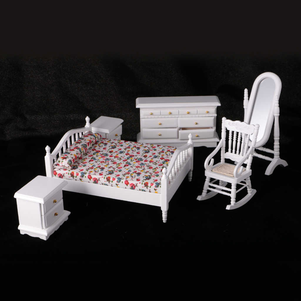 1/12 Scale White Wooden Bedroom Furniture Double Bed Dresser Mirror Chair Bedside Table Doll Pretend Play Furniture Toys