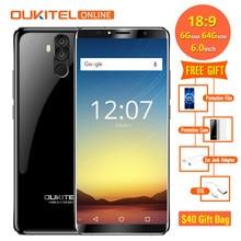 Oukitel K6 6300 mAh Pil 6.0 ''18:9 Yüz KIMLIĞI 6 GB 64 GB MT6763 Octa Çekirdek Smartphone 4G parmak izi 21MP + 13MP 4 Kamera Cep...