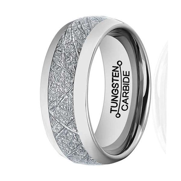 8mm Mens & Womens Tungsten Carbide Ring Meteorite Inlay Wedding Band Size 7-13