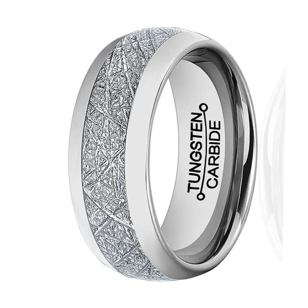 8mm mens womens tungsten carbide ring meteorite inlay wedding band size 7 13