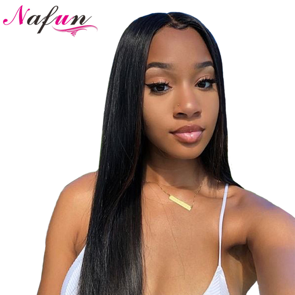 NAFUN Hair13x4 Lace Front Human Hair Wigs Peruvian Straight Lace Front Wig Natural Color Remy 10