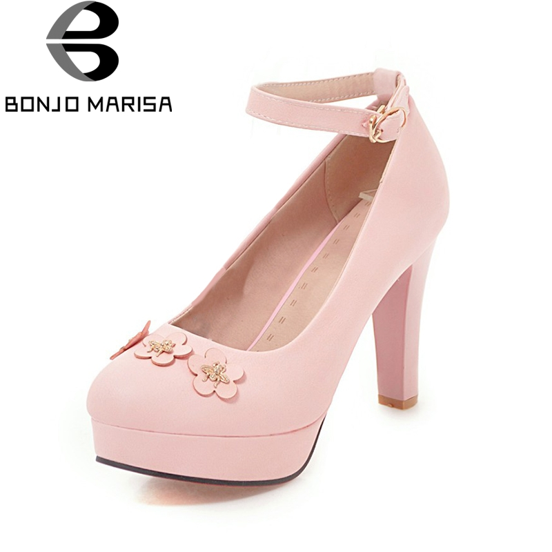BONJOMARISA 2018 Large Size 33-48 Spring High Heels Sweet Flowers Women Shoes Woman Pumps Platform Date Wedding Shoes siketu 2017 free shipping spring and autumn women shoes sex high heels shoes wedding shoes sweet lovely pumps g126