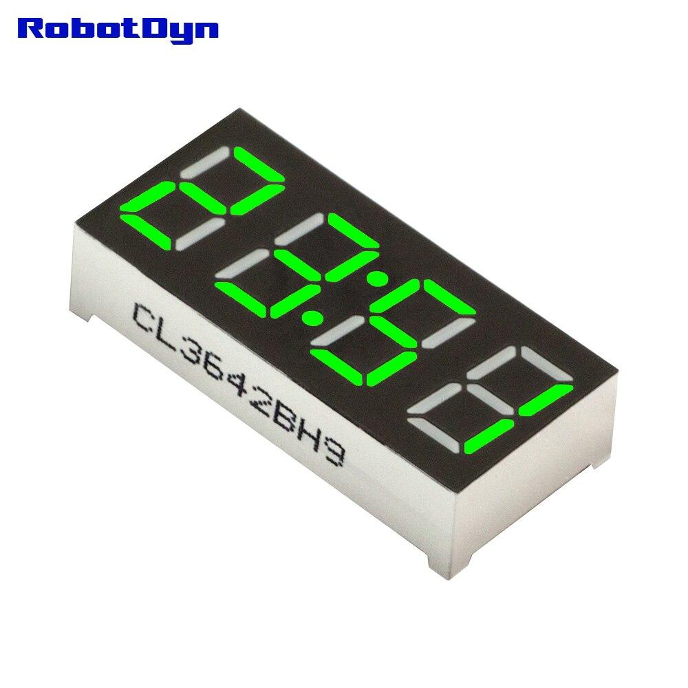 5pcs = 4-Digit 7-segments LED Display tube, doubledot/clock, GREEN, disp. size 30x14mm, 0.36