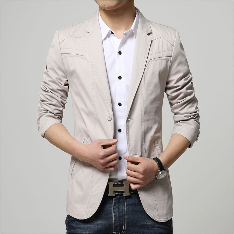 2015 Autumn Comfortable Cotton Blazers Men Two Buttons Solid Design Casual Blaser Jacket Blazer Masculino Slim Black grey khaki11