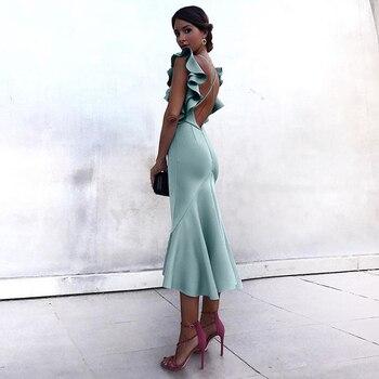 Adyce lato zielone Ruffles suknie wieczorowe w stylu gwiazd kobiety Vestidos 2020 fioletowy motyl bez rękawów Backless sukienka syrenka