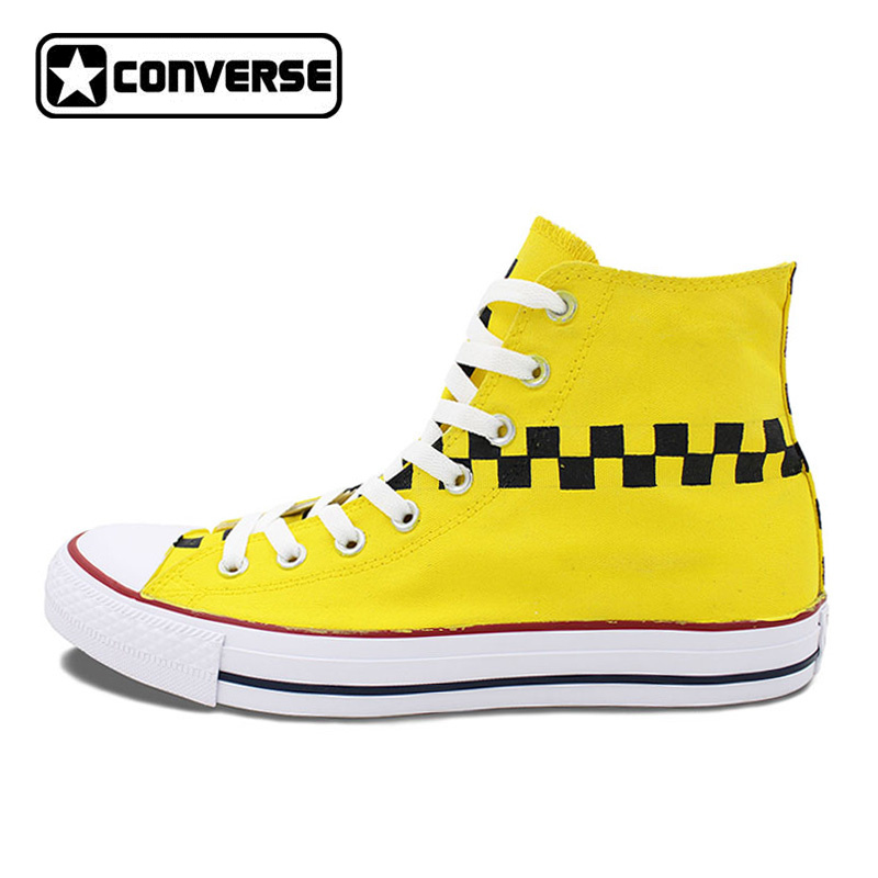 Original Design TAXI Doors Logo Mark Yellow Color Hand Painted Shoes Converse Chuck Taylor Unisex High Top Canvas Sneakers