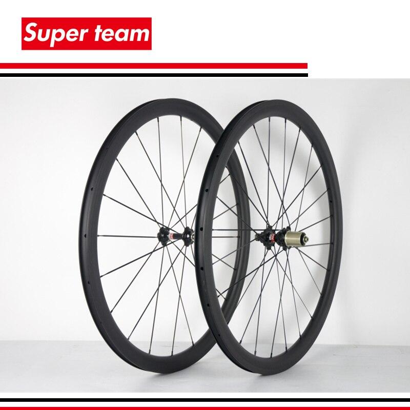 Superteam Carbon fiber wheelset 700C 38mm road bike wheels 3K matte 25mm width