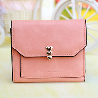 New Delicate Mini Wallet LOVE Rivet Women Wallet Brief Short Purse Credit Card Holder