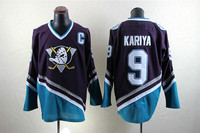 SexeMara Mighty Ducks Movie Jersey 9 Paul Kariya Ice Hockey Jersey S M L XL XXL